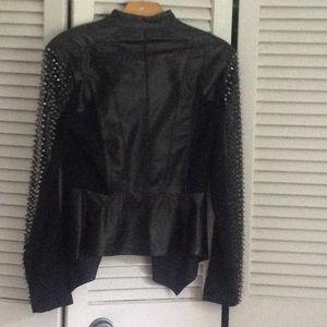 bebe Jackets & Coats - Black lamb leather jacket with studded sleeves